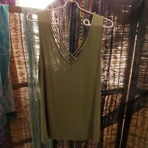 Olive green strappy back tank